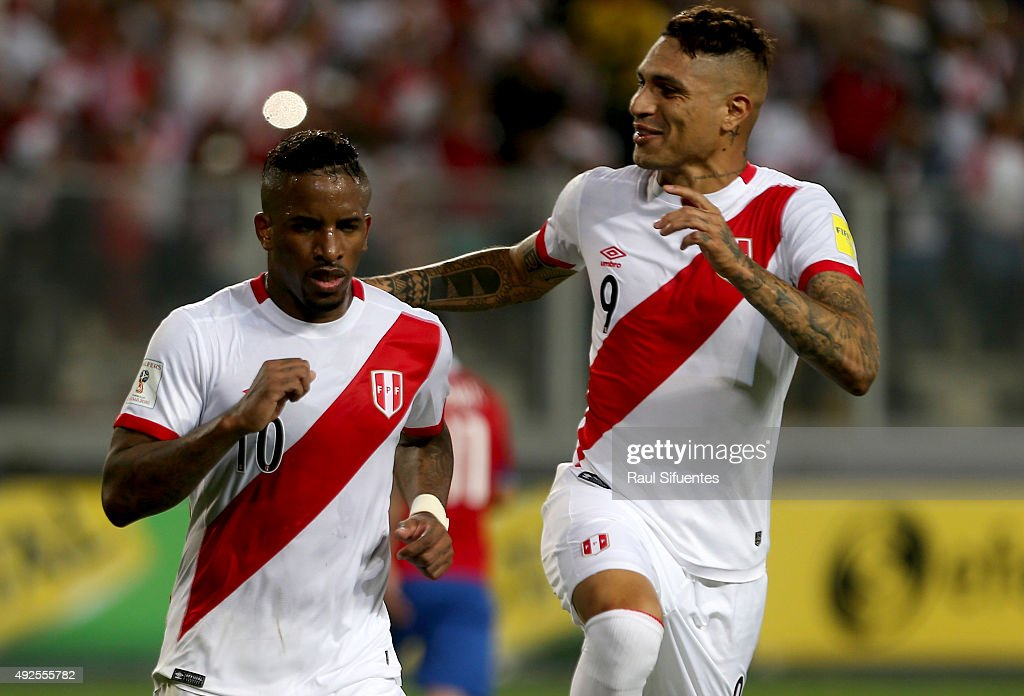 <a gi-track='captionPersonalityLinkClicked' href=/galleries/search?phrase=Jefferson+Farfan&family=editorial&specificpeople=791155 ng-click='$event.stopPropagation()'>Jefferson Farfan</a> of Peru celebrates after scoring the second goal of his team against Chile during a match between Peru and Chile as part of FIFA 2018 World Cup Qualifier at Nacional Stadium on October 13, 2015 in Lima, Peru.