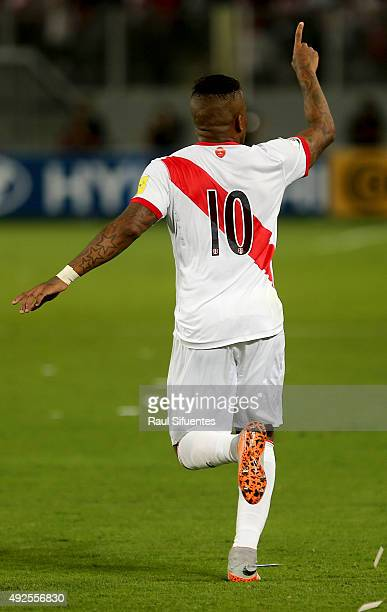 Jefferson Farfan of Peru celebrates the first goal of his team against Chile during a match between Peru and Chile as part of FIFA 2018 World Cup...