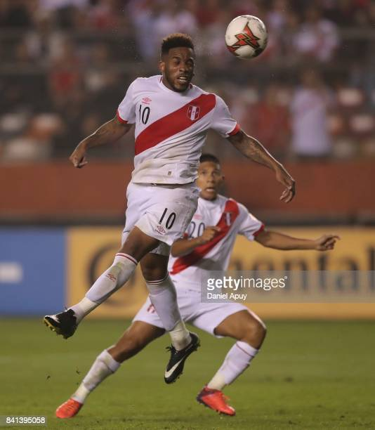 Jefferson Farfan of Peru heads the ball during a match between Peru and Bolivia as part of FIFA 2018 World Cup Qualifiers at Monumental Stadium on...