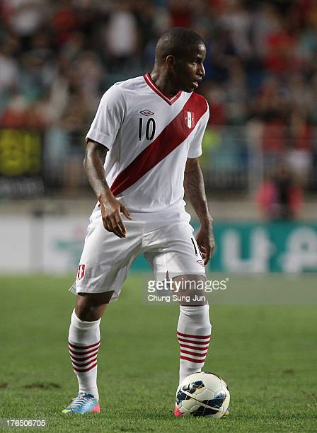 Jefferson Farfan of Peru in action during the international friendly match between South Korea and Peru at Suwon World Cup Stadium on August 14 2013...