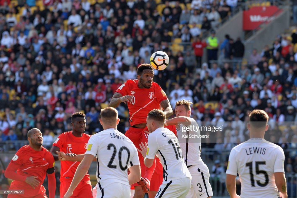 Jefferson Farfan of Peru makes a header during the 2018 FIFA World Cup Qualifier match between the New Zealand All Whites and Peru at Westpac Stadium on November 11, 2017 in Wellington, New Zealand.