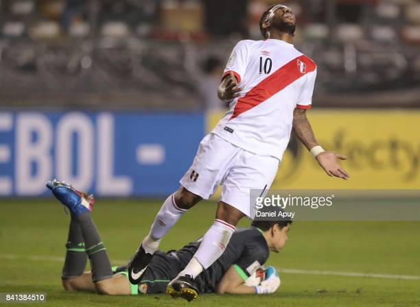 Jefferson Farfan of Peru reacts after missing a chance to score during a match between Peru and Bolivia as part of FIFA 2018 World Cup Qualifiers at...