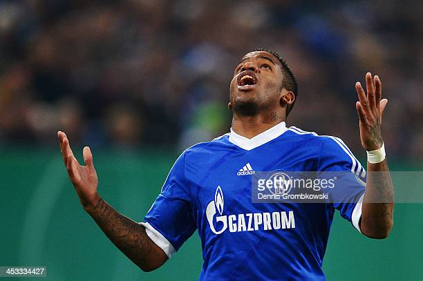 Jefferson Farfan of Schalke 04 shows his frustration during the DFB Cup match between Schalke 04 and 1899 Hoffenheim at VeltinsArena on December 3...