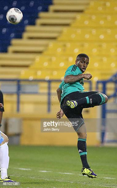 Jefferson Farfan of Schalke in action during the friendly match between Al Gharafa SC and Schalke 04 at the Al Gharafa Stadium on January 6 2014 in...