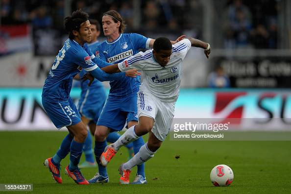 Jefferson Farfan of Schalke is challenged by Takashi Usami of Hoffenheim during the Bundesliga match between TSG 1899 Hoffenheim and FC Schalke 04 at...