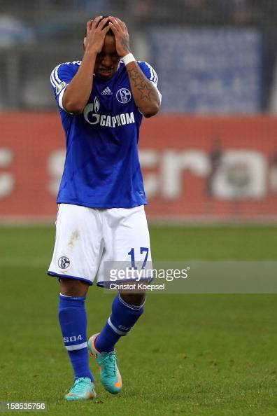 Jefferson Farfan of Schalke looks dejected after the second goal of Mainz during the DFB cup round of sixteen match between FC Schalke 04 and FSV...