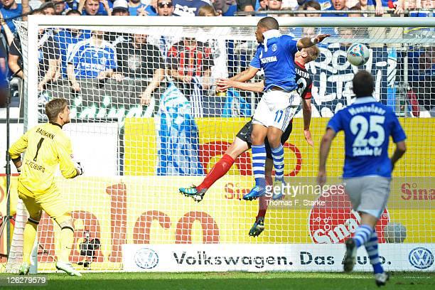 Jefferson Farfan of Schalke scores his teams first goal during the Bundesliga match between FC Schalke 04 and SC Freiburg at Veltins Arena on...