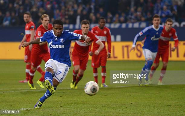 Jefferson Farfan of Schalke scores his teams second goal during the Bundesliga match between FC Schalke 04 and VfB Stuttgart at VeltinsArena on...