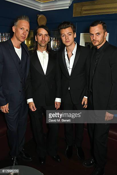 Jefferson Hack Alister Mackie Harry Styles and Kris Van Assche attend the Another Man A/W launch event hosted by Harry Styles Alister Mackie and Kris...