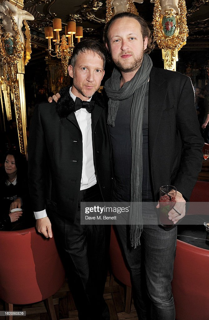 Jefferson Hack (L) and Edward Spencer Churchill attend the AnOther Magazine and Dazed & Confused party with Belvedere Vodka at the Cafe Royal hotel on February 18, 2013 in London, England.