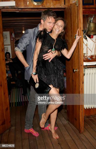 Jefferson Hack and Laetitia Crahay attend the Bruce Nauman dinner party hosted by Missoni on the boat 'Timoteo' during the 2009 Venice Biennale on...