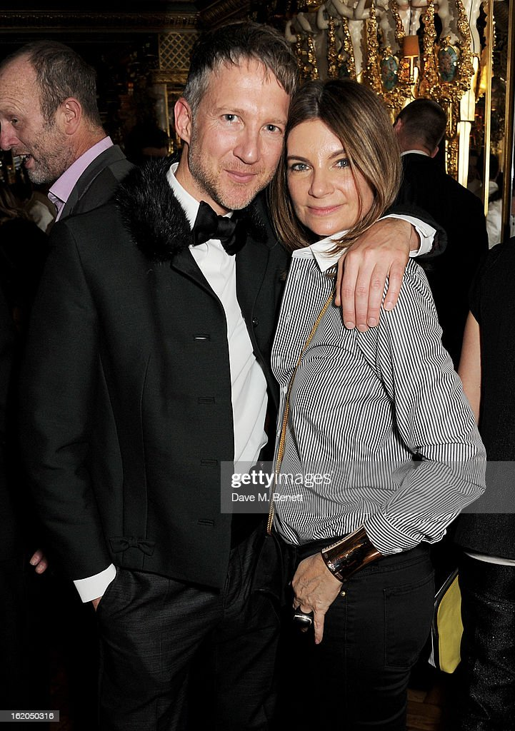 Jefferson Hack (L) and Natalie Massenet attend the AnOther Magazine and Dazed & Confused party with Belvedere Vodka at the Cafe Royal hotel on February 18, 2013 in London, England.
