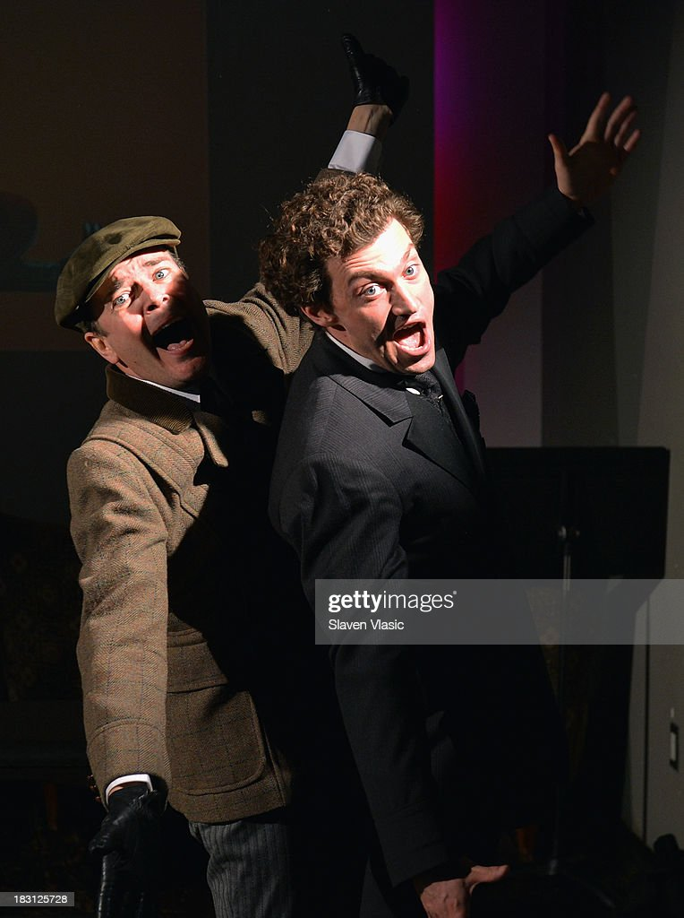 <a gi-track='captionPersonalityLinkClicked' href=/galleries/search?phrase=Jefferson+Mays&family=editorial&specificpeople=211336 ng-click='$event.stopPropagation()'>Jefferson Mays</a> (L) and Bryce Pinkham perform at 'A Gentleman's Guide To Love And Murder' Press Preview at Norwood Club on October 4, 2013 in New York City.