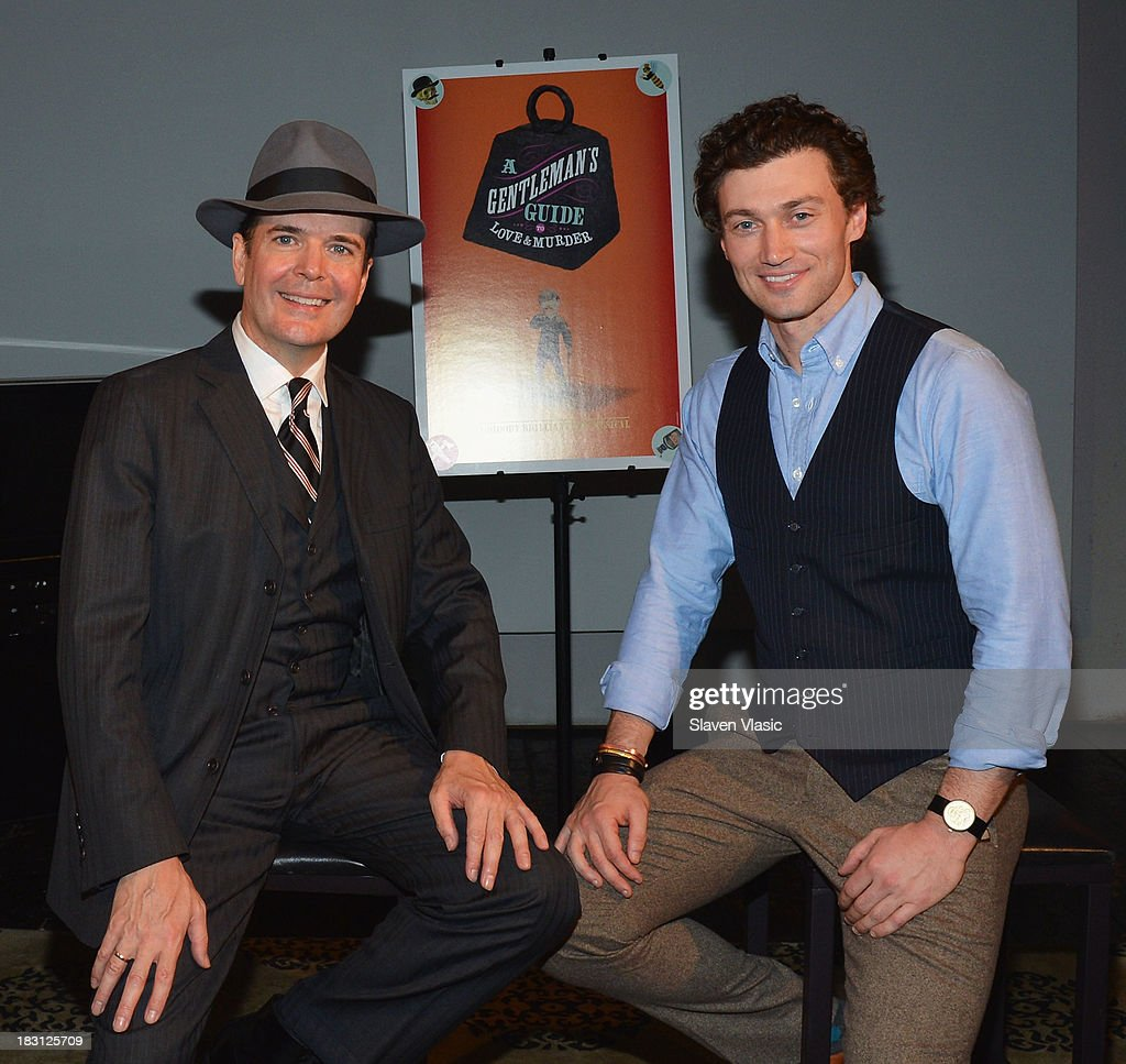 <a gi-track='captionPersonalityLinkClicked' href=/galleries/search?phrase=Jefferson+Mays&family=editorial&specificpeople=211336 ng-click='$event.stopPropagation()'>Jefferson Mays</a> (L) and Bryce Pinkham pose for photo at 'A Gentleman's Guide To Love And Murder' Press Preview at Norwood Club on October 4, 2013 in New York City.