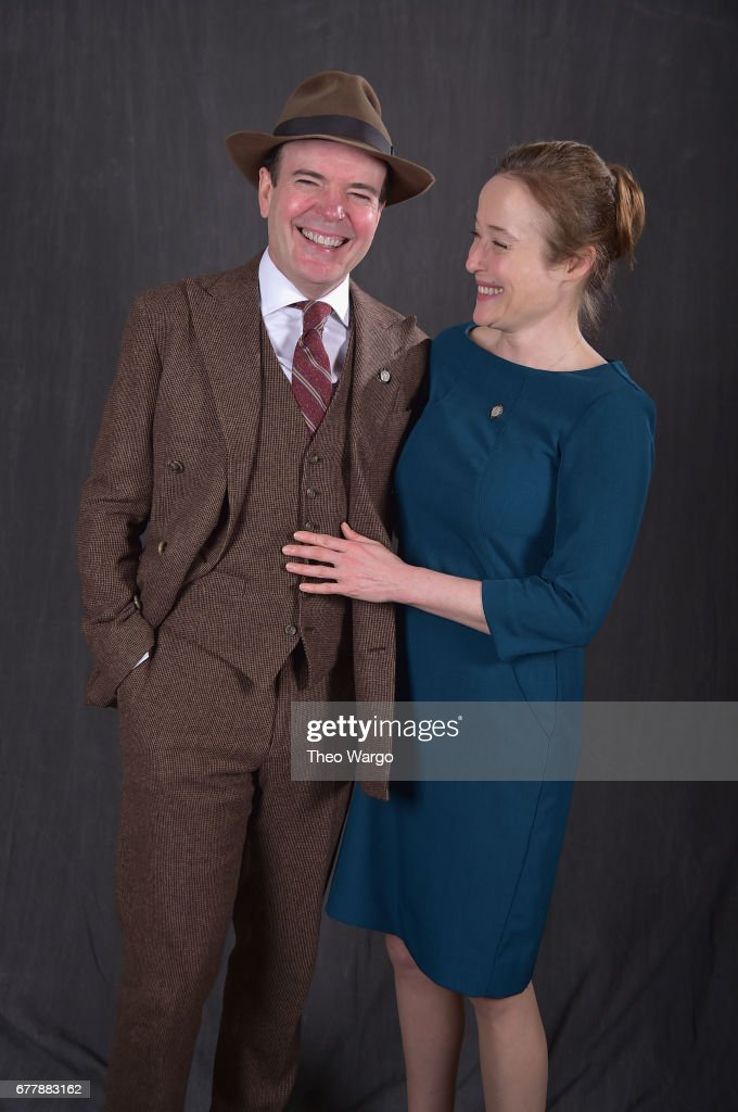 Jefferson Mays (L) and Jennifer Ehle poses at the 2017 Tony Awards Meet The Nominees press junket portrait studio at Sofitel New York on May 3, 2017 in New York City.