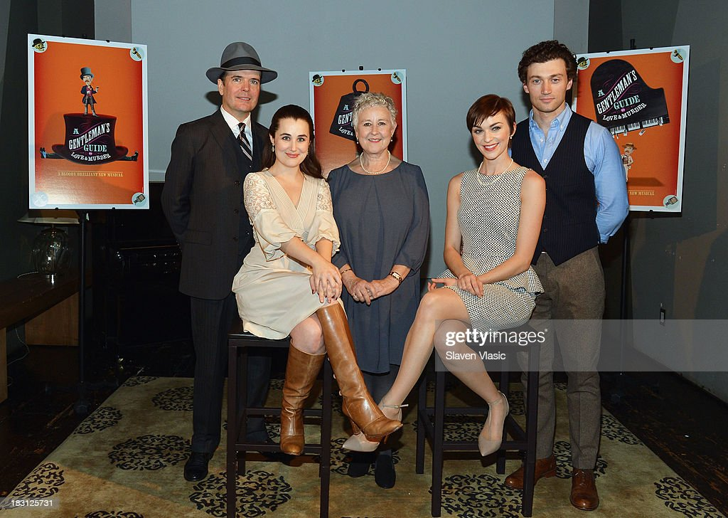 <a gi-track='captionPersonalityLinkClicked' href=/galleries/search?phrase=Jefferson+Mays&family=editorial&specificpeople=211336 ng-click='$event.stopPropagation()'>Jefferson Mays</a>, Lauren Worsham, Jane Carr, Lisa O'Hare and Bryce Pinkham attend 'A Gentleman's Guide To Love And Murder' Press Preview at Norwood Club on October 4, 2013 in New York City.