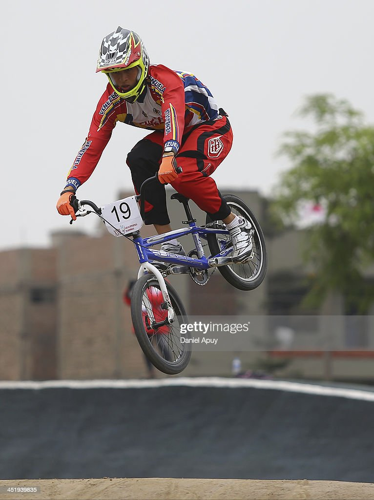 Jefferson Milano of Venezuela competes in BMX time trial Men«s final as part of the XVII Bolivarian Games Trujillo 2013 at Parque Huiracocha on November 25, 2013 in Lima, Peru.