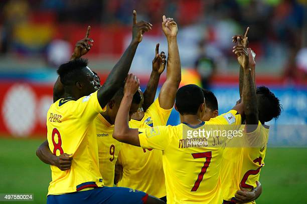 Jefferson Montero of Ecuador celebrates with teammates after scoring the second goal of his team during a match between Venezuela and Ecuador as part...