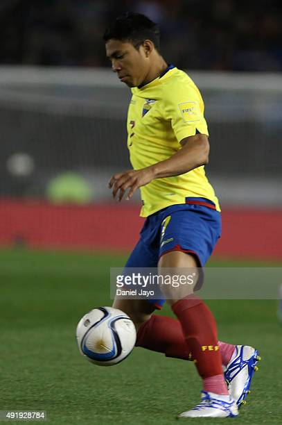 Jefferson Montero of Ecuador drives the ball during a match between Argentina and Ecuador as part of FIFA 2018 World Cup Qualifier at Monumental...