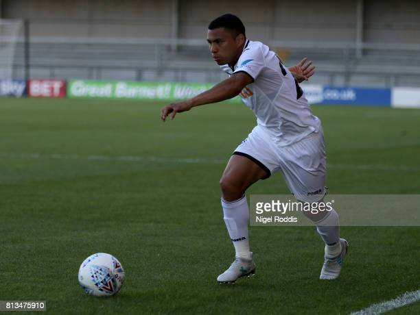 Jefferson Montero of Swansea City during the pre season friendly match between Barnet and Swansea City at The Hive on July 12 2017 in Barnet England
