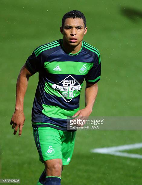 Jefferson Montero of Swansea City during the preseason friendly between Reading and Swansea City at Adams Park on July 24 2015 in High Wycombe England
