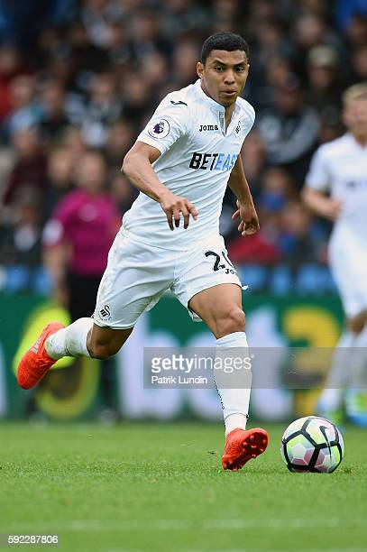 Jefferson Montero of Swansea City runs with the ball during the Premier League match between Swansea City and Hull City at Liberty Stadium on August...