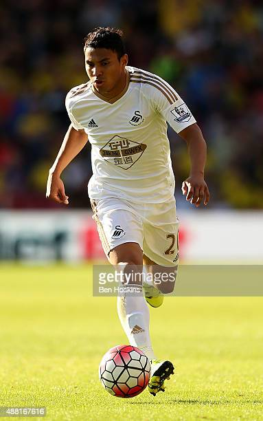 Jefferson Montero of Swansea in action during the Barclays Premier League match between Watford and Swansea City at Vicarage Road on September 12...