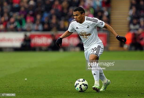 Jefferson Montero of Swansea in action during the Premier League match between Swansea City and Stoke City at The Liberty Stadium on May 02 2015 in...