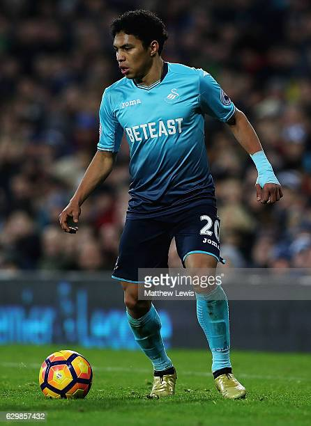 Jefferson Montero of Swansea in action during the Premier League match between West Bromwich Albion and Swansea City at The Hawthorns on December 14...