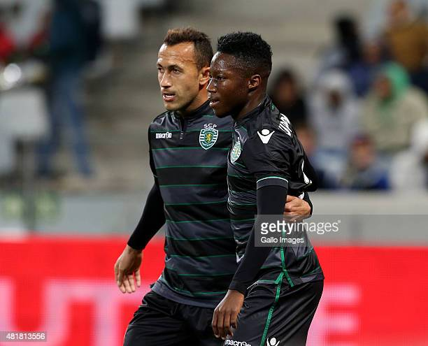 Jefferson Nascimento and Carlos Mane of Sporting Club de Portugal during the 2015 Cape Town Cup match between Ajax Cape Town and Sporting Lisbon at...