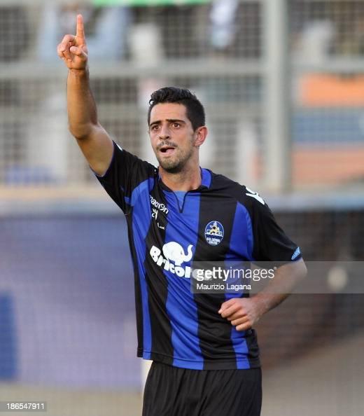 Jefferson of Latina celebrates the opening goal during the Serie B match between US Latina and Reggina Calcio at Stadio Domenico Francioni on...