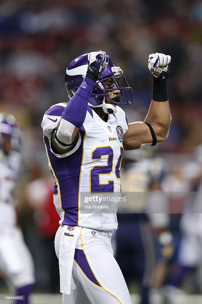 A.J. Jefferson #24 of the Minnesota Vikings celebrates against the St. Louis Rams during the game at Edward Jones Dome on December 16, 2012 in St. Louis, Missouri. The Vikings won 36-22.