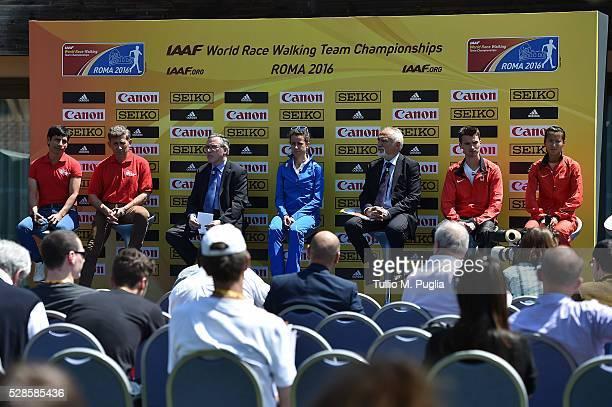 Jefferson Perez Robert Korzeniowski IAAF General Secretary Jean Gracia Eleonora Giorgi LOC President Alfio Giomi Benjamin Thorne and Hong Liu attend...