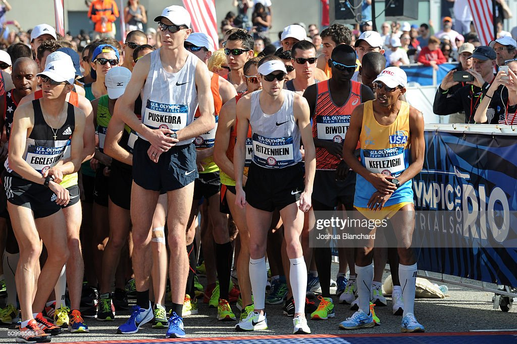 Jeffery Eggleston, Luke Puskedra, Dathan Ritzenhein and Meb Keflezighi at the start of the U.S. Olympic Team Trials Marathon on February 13, 2016 in Los Angeles, California.