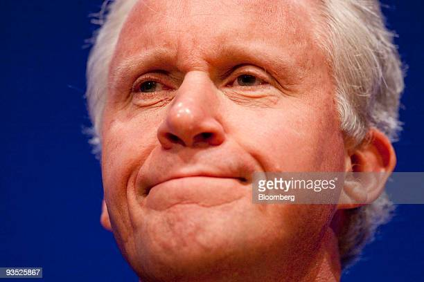 Jeffery Immelt chairman and chief executive officer of General Electric Co listens at the Innovation Economy Conference in Washington DC US on...