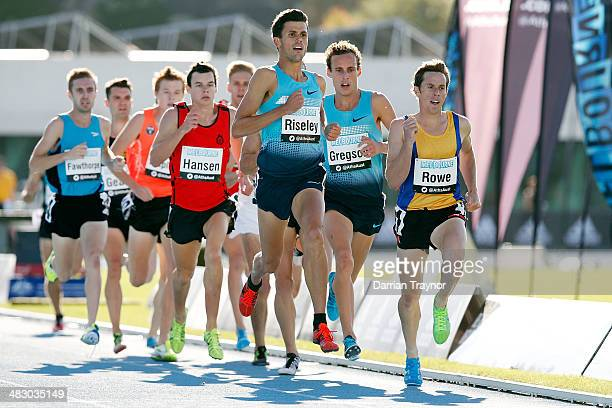 Jeffery Riseley leads the 1500m final during the 92nd Australian Athletics Championships on April 6 2014 in Melbourne Australia