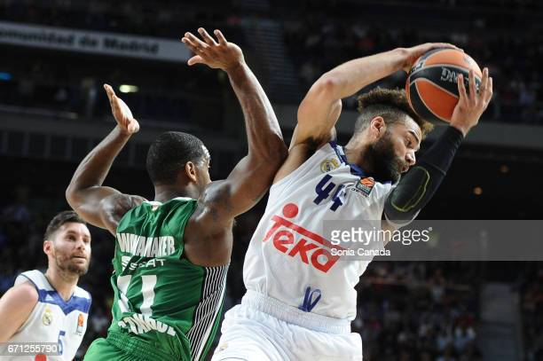 Jeffery Taylor #44 forward of Real Madrid and Brad Wanamaker #11 guard of Darussafaka Dogus Istanbul during the 2016/2017 Turkish Airlines Euroleague...