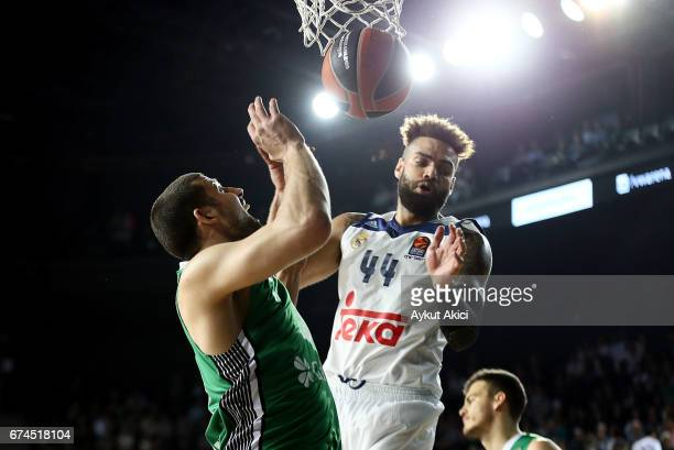 Jeffery Taylor #44 of Real Madrid in action during the 2016/2017 Turkish Airlines EuroLeague Playoffs leg 4 game between Darussafaka Dogus Istanbul v...