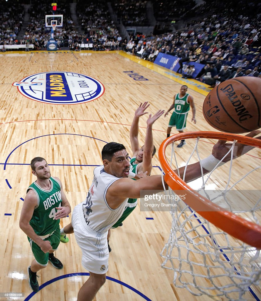 Jeffery Taylor of Real Madrid drives to the against the Boston Celtics as part of the 2015 Global Games on October 8 2015 at the Barclaycard Center...