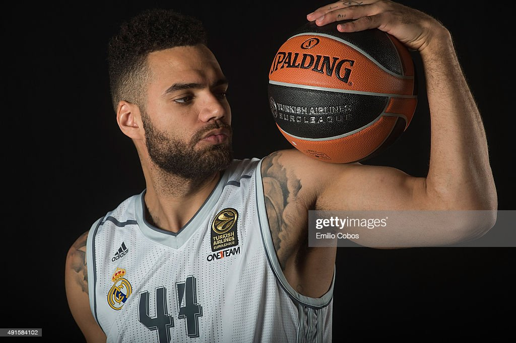 Jeffery Taylor of Real Madrid poses during the 2015/2016 Turkish Airlines Euroleague Basketball Media Day at Polideportivo Valle de Las Casas on...