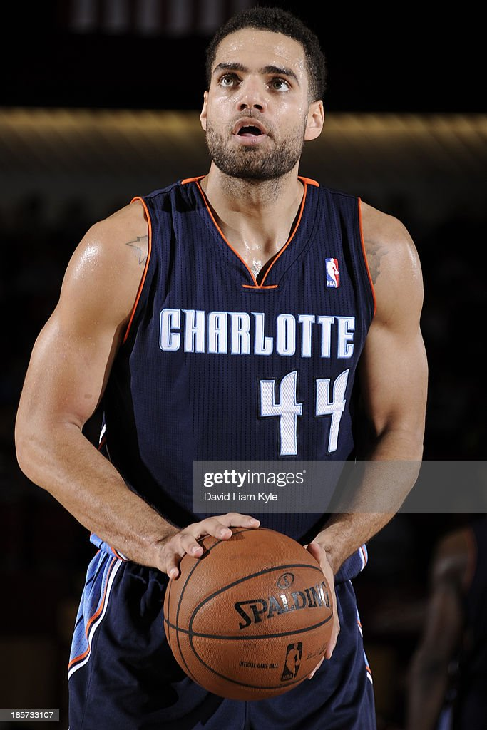 Jeffery Taylor #44 of the Charlotte Bobcats attempts a foul shot against the Cleveland Cavaliers at the Canton Memorial Civic Center on October 15, 2013 in Canton, Ohio.