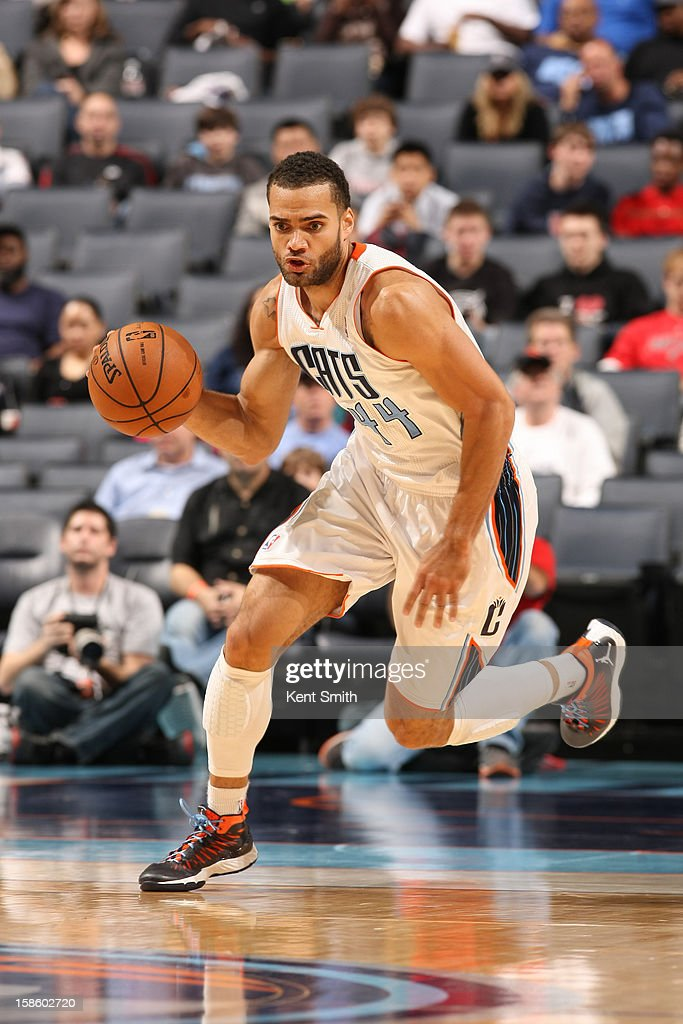 Jeffery Taylor #44 of the Charlotte Bobcats dribbles the ball up court against the Portland Trail Blazers at the Time Warner Cable Arena on December 3, 2012 in Charlotte, North Carolina.