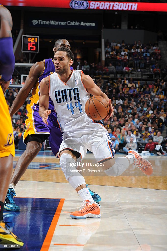 Jeffery Taylor #44 of the Charlotte Bobcats drives to the basket against the Los Angeles Lakers on February 8, 2013 at the Time Warner Cable Arena in Charlotte, North Carolina.