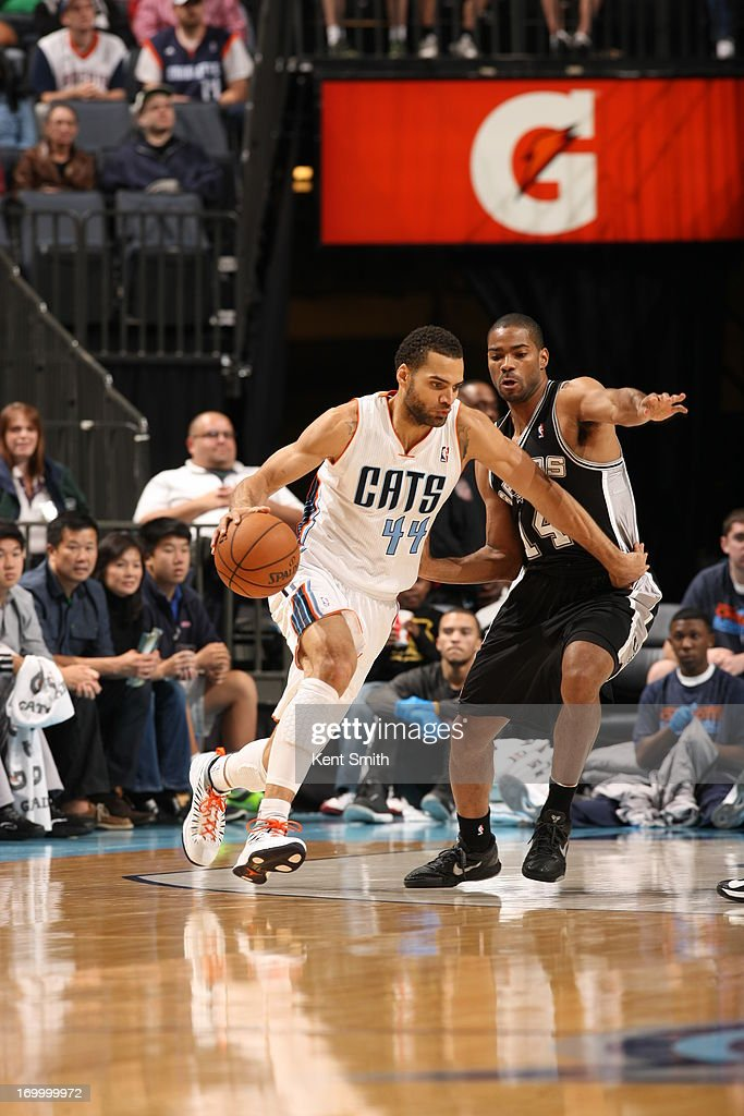 Jeffery Taylor #44 of the Charlotte Bobcats drives to the basket against the San Antonio Spurs at the Time Warner Cable Arena on December 8, 2012 in Charlotte, North Carolina.