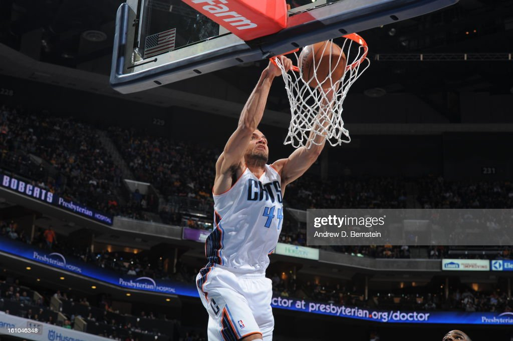 Jeffery Taylor #44 of the Charlotte Bobcats dunks against the Los Angeles Lakers on February 8, 2013 at the Time Warner Cable Arena in Charlotte, North Carolina.