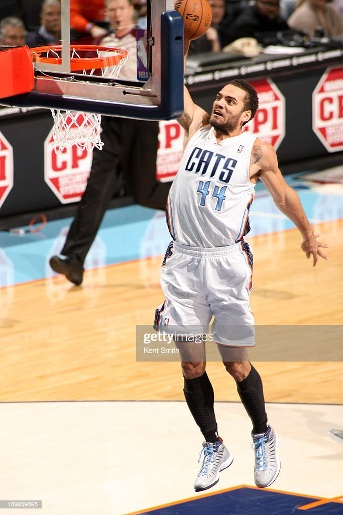 Jeffery Taylor #44 of the Charlotte Bobcats dunks on a fast break against the Houston Rockets at the Time Warner Cable Arena on January 21, 2013 in Charlotte, North Carolina.