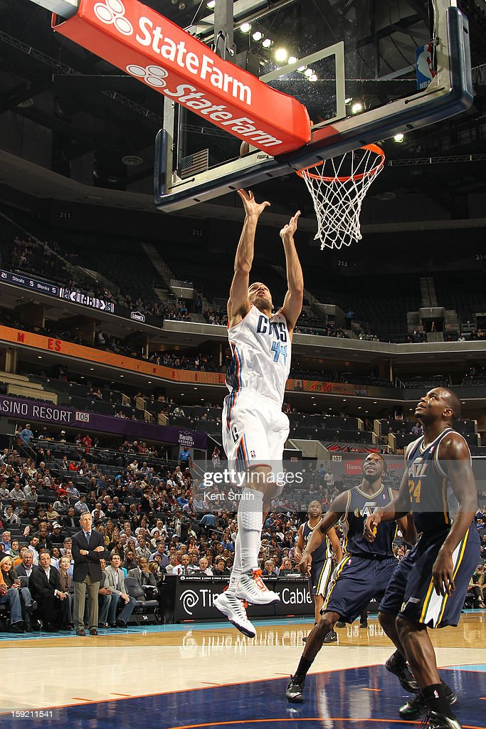 Jeffery Taylor of the Charlotte Bobcats goes for the rebound against the Utah Jazz at the Time Warner Cable Arena on January 9 2013 in Charlotte...