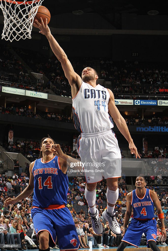 Jeffery Taylor #44 of the Charlotte Bobcats goes strong to the basket against the New York Knicks at the Time Warner Cable Arena on April 15, 2013 in Charlotte, North Carolina.