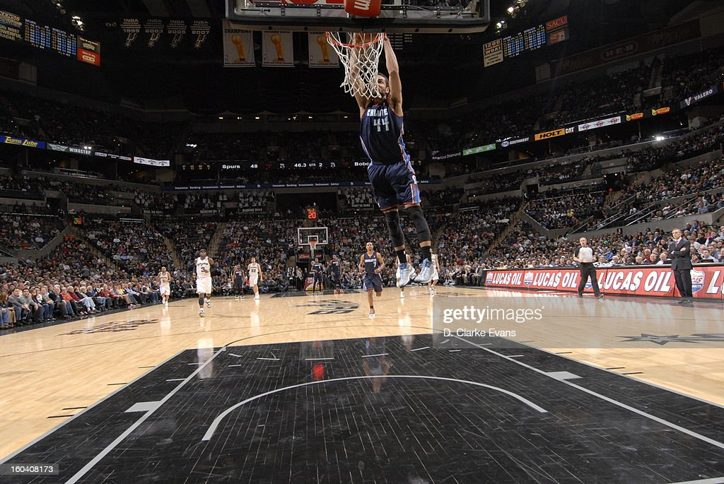 Jeffery Taylor #44 of the Charlotte Bobcats goes up for the breakaway slamdunk against the San Antonio Spurs on January 30, 2013 at the AT&T Center in San Antonio, Texas.