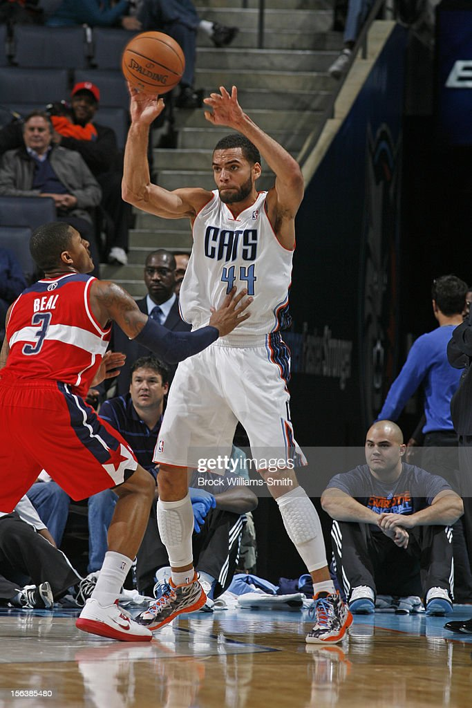 Jeffery Taylor #44 of the Charlotte Bobcats passes the ball against <a gi-track='captionPersonalityLinkClicked' href=/galleries/search?phrase=Bradley+Beal&family=editorial&specificpeople=7640439 ng-click='$event.stopPropagation()'>Bradley Beal</a> #3 of the Washington Wizards at the Time Warner Cable Arena on November 13, 2012 in Charlotte, North Carolina.